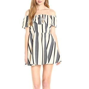 NWT Lucca striped off the shoulder ruffled dress